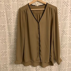 Taupe Button Front Blouse